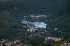 Vagli di Sotto village on Lago di Vagli, Vagli lake, Tuscany, It Royalty Free Stock Photo