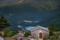 Vagli di Sotto village on Lago di Vagli, Vagli lake, Tuscany, It Stock Photos