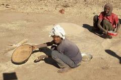 Vagliare grano, l'Etiopia immagini stock
