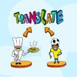 Vagn för folk för översättningsbegrepp italiensk portugisisk stock illustrationer