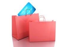 vagn för kreditering 3d ben för bakgrundspåsebegrepp som shoppar den vita kvinnan Fotografering för Bildbyråer