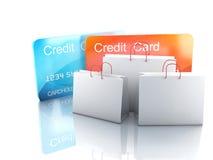 vagn för kreditering 3d ben för bakgrundspåsebegrepp som shoppar den vita kvinnan Arkivfoton