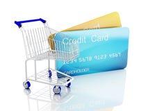 vagn för kreditering 3d ben för bakgrundspåsebegrepp som shoppar den vita kvinnan Arkivbild