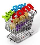 Vagn för shopping för områdesnamn inre illustration 3d royaltyfri illustrationer
