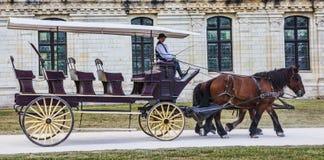 Vagn framme av den Chambord slotten Royaltyfri Fotografi