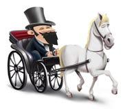 Vagn med hästen Arkivbilder