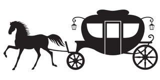 Vagn och häst Arkivbild