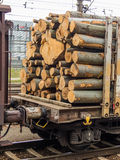 Vagn som laddas med trä Fotografering för Bildbyråer