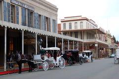 Vagnar i gamla Sacramento royaltyfri foto