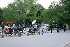 Vagnar och cyklar uppställda i Central Park Royaltyfria Foton