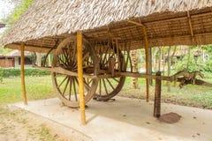 Vagnen eller oxcart eller vagnen tidigare används brett i landsbygder fotografering för bildbyråer