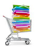 vagnen för böcker 3d framför shopping Royaltyfri Foto