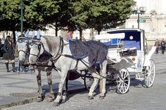 Vagnen med hästar på den gamla stadfyrkanten i Prague Royaltyfri Bild