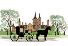 Vagnen med hästen över gammal stad parkerar bakgrund vektor illustrationer