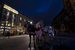 Vagnshästtriumfvagn i Krakow på christmastime fotografering för bildbyråer