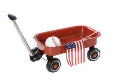 Vagone con la bandiera americana, baseball Immagine Stock Libera da Diritti