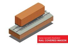 Vagone coperto della ferrovia Illustrazione isometrica di vettore del vagone coperto della ferrovia Trasporto del trasporto di fe Immagini Stock