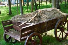 Vagone del villaggio con fieno ed il rastrello Fotografie Stock Libere da Diritti