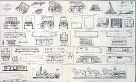 Vagoni del rifornimento, automobili di ferrovia dei vagoni del cuoco Fotografia Stock Libera da Diritti
