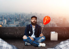 Vagrant with ballon Royalty Free Stock Image