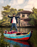 Vagrant on the boat Stock Photo