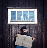 Vagrant with cardboard Stock Image