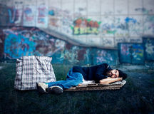 Vagrant sleeping outside Royalty Free Stock Photography