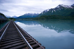 Vagt Lake Alaska Outback Railroad Tracks Bridge Stock Photo