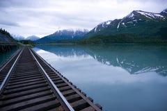 Vagt Lake Alaska Outback Railroad Tracks Bridge Stock Photo