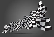 Vague à carreaux 3D de drapeau sur le vecteur gris de fond de championnat de course de sport de conception illustration stock