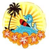 Vague déferlante d'océan avec le dauphin Images libres de droits
