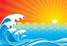 Vague déferlante et Sun Image libre de droits