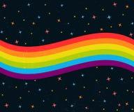 vague d'arc-en-ciel de 6 couleurs sur le ciel nocturne foncé avec des étoiles Pride Flag gai Photo stock