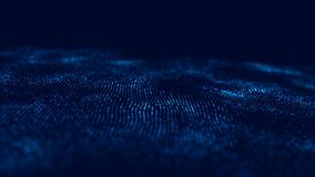 Vague 3d Vague des particules Fond g?om?trique bleu abstrait Grande visualisation de donn?es Abr?g? sur technologie de donn?es fu illustration de vecteur
