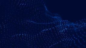 Vague 3d Vague des particules Fond g?om?trique bleu abstrait Grande visualisation de donn?es Abr?g? sur technologie de donn?es fu illustration stock