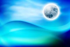 Vague d'eau bleue la nuit avec le fullmoon Photos stock