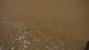 Vague d'eau propre sur le sable Éclaboussure de l'eau de plage sablonneuse Vacances de plage d'été clips vidéos