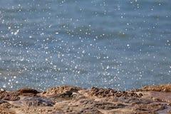 Vague d'océan bleu sur la plage sablonneuse Fond Photographie stock libre de droits