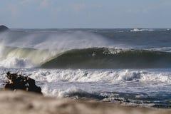 Vague de baril avec le bois de flottage de plage photographie stock
