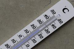Vague de chaleur : Thermomètre se trouvant sur le plancher en béton photo stock