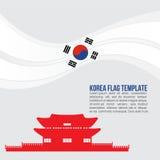 Vague de drapeau de la Corée et symboles de palais de Gyeongbokgung Images stock