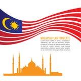 Vague de drapeau de la Malaisie et symboles de Crystal Masjid Photo stock