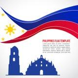 Vague de drapeau de Philippines et temple abstraits d'église de Paoay Photo stock