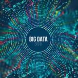 Vague de grille de cercle Fond abstrait de la science de bigdata Grande technologie d'innovation de données illustration de vecteur