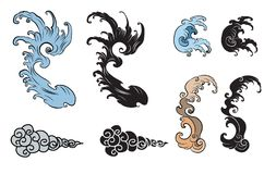Vague de Japonais pour le tatouage Isolat tiré par la main sur le fond blanc Images libres de droits