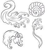 Vague de Japonais pour le tatouage Isolat tiré par la main sur le fond blanc Image stock