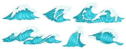 Vague de mer Ressacs de cru, marée de l'eau bleue et ensemble tiré par la main d'illustration de vecteur de raz-de-marée illustration libre de droits