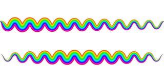 Vague de serpent de zigzag d'arc-en-ciel, symbole onduleux de ressort, ressort de signe d'arc-en-ciel de vecteur Photographie stock