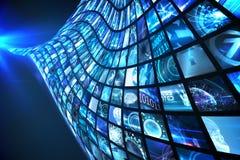 Vague des écrans numériques dans le bleu Images stock