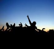 Vague déferlante de foule de concert de rock   Photographie stock libre de droits